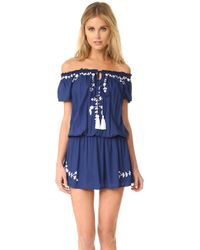 Tiare Hawaii Tulum Off The Shoulder Embroidered Dress - Blue
