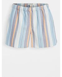 Madewell Bedtime Pajama Shorts In Solano Stripe: Colorblock Piping Edition - Blue