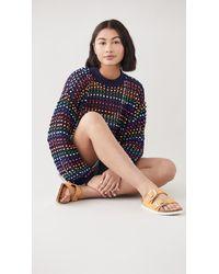FARM Rio Multi Colored Beaded Crochet Jumper - Blue