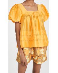 Lee Mathews Canary Tucked Puff Top - Multicolour