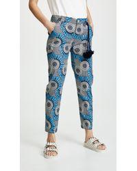 Figue Zulu Cropped Cotton Pants - Blue