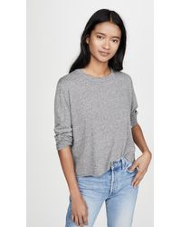 The Great The Long Sleeve Crop Tee - Grey