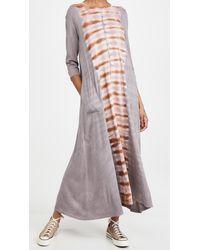 Raquel Allegra Half Sleeve Drama Maxi Dress - Multicolour