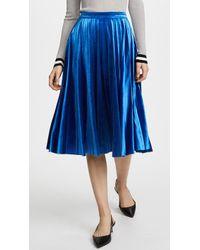 Endless Rose Pleated Velvet Skirt - Blue