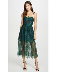 Self-Portrait Green Floral Lace Midi Dress