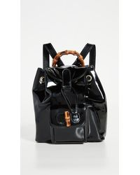 What Goes Around Comes Around Gucci Black Patent Bamboo Backpack