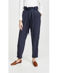 Scotch & Soda High Waisted Pinstripe Trousers - Blue