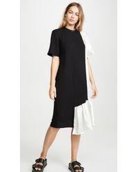 CLU Mix Media Dress With Ruffles - Black