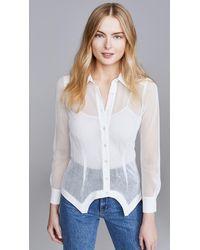 Fleur du Mal Silk & Mesh Sheer Panelled Shirt - White