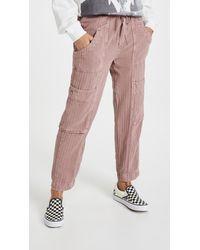 Free People Feelin Good Utility Pull On Pants - Purple