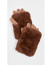 Carolina Amato Short Hair Fold Over Texting Gloves - Brown