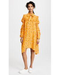 SJYP - Flower Printed Frill Dress - Lyst