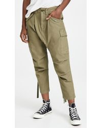 R13 Long Rise Cargo Trousers - Green