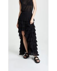 Norma Kamali Ruffle Hi Low Skirt - Black