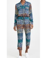 Never Fully Dressed Teal Viscose Patsy Jumpsuit - Blue
