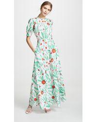 Vika Gazinskaya Flower Print Fitted Dress - Green