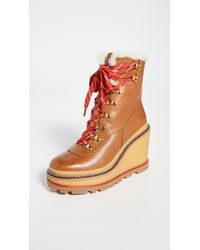 Tory Burch Hiker Wedge 95mm Shearling Booties - Multicolour