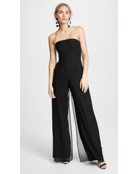 Halston - Strapless Jumpsuit With Flowy Trousers - Lyst