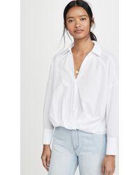 Stateside Poplin Twist Front Shirt - White
