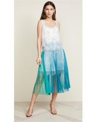 Loyd/Ford Corded Lace Dress W/ Pleated Skirt - Blue