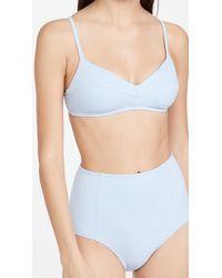 Madewell Ora Seamed Bralette Bikini Top - Blue