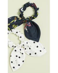 Tanya Taylor Bow Scrunchie Set - Blue