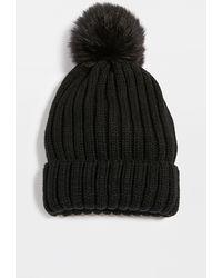 Adrienne Landau Knit Hat With Pom - Black