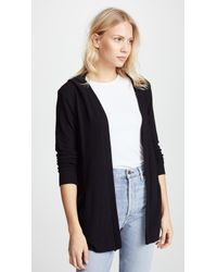 Chaser - Long Sleeve Hooded Cardigan With Lace Back - Lyst