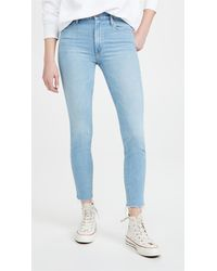 Mother The Looker Ankle Fray Jeans - Blue