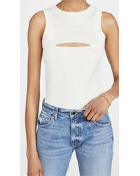 Brandon Maxwell Ribbed Jersey Tank With Cutout - White