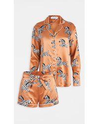 Olivia Von Halle Alba Pyjama Set - Orange