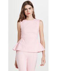 Adam Lippes Denim Peplum Top With Shirred Waist - Pink