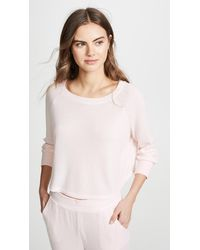 Honeydew Intimates Sneak Peek Waffle Knit Crop Sweatshirt - Pink