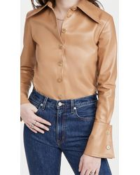 A.W.A.K.E. MODE Faux Leather Shirt With Cuff Detail - Multicolour
