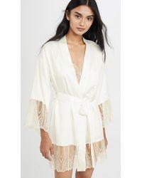 Flora Nikrooz Aurora Charmeuse Lace Robe - White