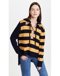 Monse Rugby Striped Knit Hoodie - Blue