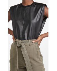 Alice + Olivia Kendrick Strong Shoulder Vegan Leather Top - Black