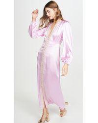 Divine Héritage Long Sleeve V Neck Midi Dress - Pink