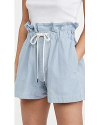 Bassike Canvas Paperbag Shorts - Blue