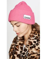 Ganni Knit Beanie Hat - Pink
