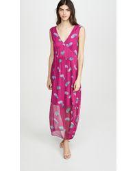 COACH Sleeveless Stylized Floral V Neck Dress - Pink