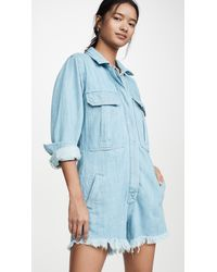 Free People Shapeshifter Shortall Romper - Blue