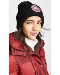 Canada Goose Arctic Disc Toque Wool Knit Beanie Hat - Black