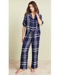 Rails Checked Flannel Pyjama Set - Blue