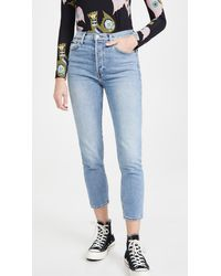 RE/DONE 90s High Rise Ankle Crop Jeans - Blue