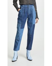 COACH - Denim Patchwork Pleated Trousers - Lyst