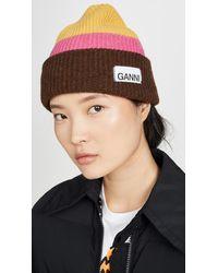 Ganni Knit Striped Beanie Hat - Yellow