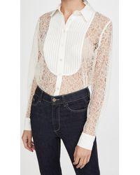 Fleur du Mal Lace Oversized Pintucked Shirt - White