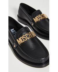Moschino Logo Loafers - Black