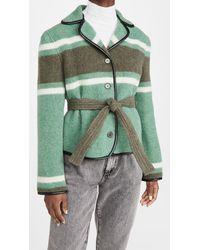 Philosophy Di Lorenzo Serafini Striped Jacket With Belt - Green